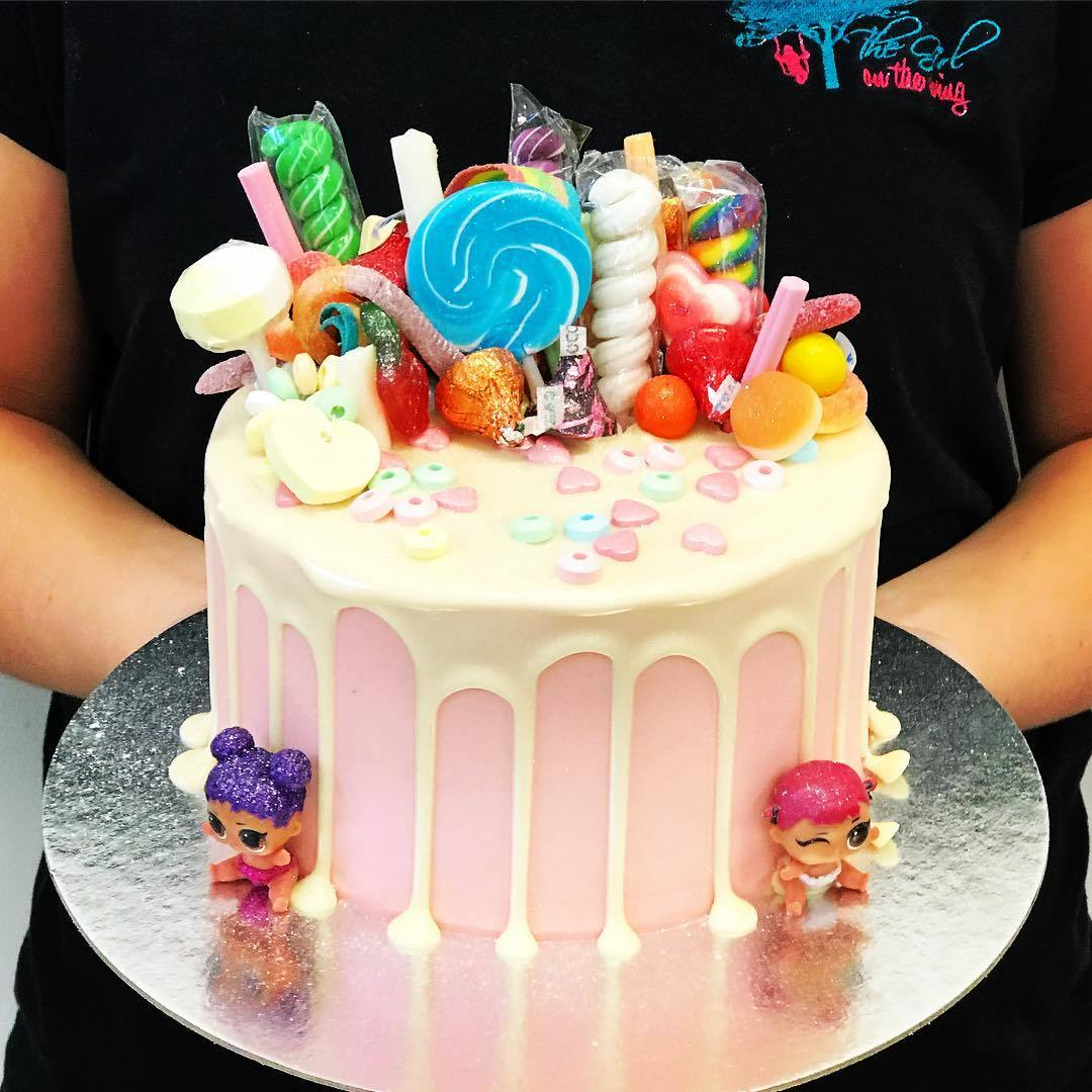 Pink And White Drip Candy Lol Doll Cake The Girl On The
