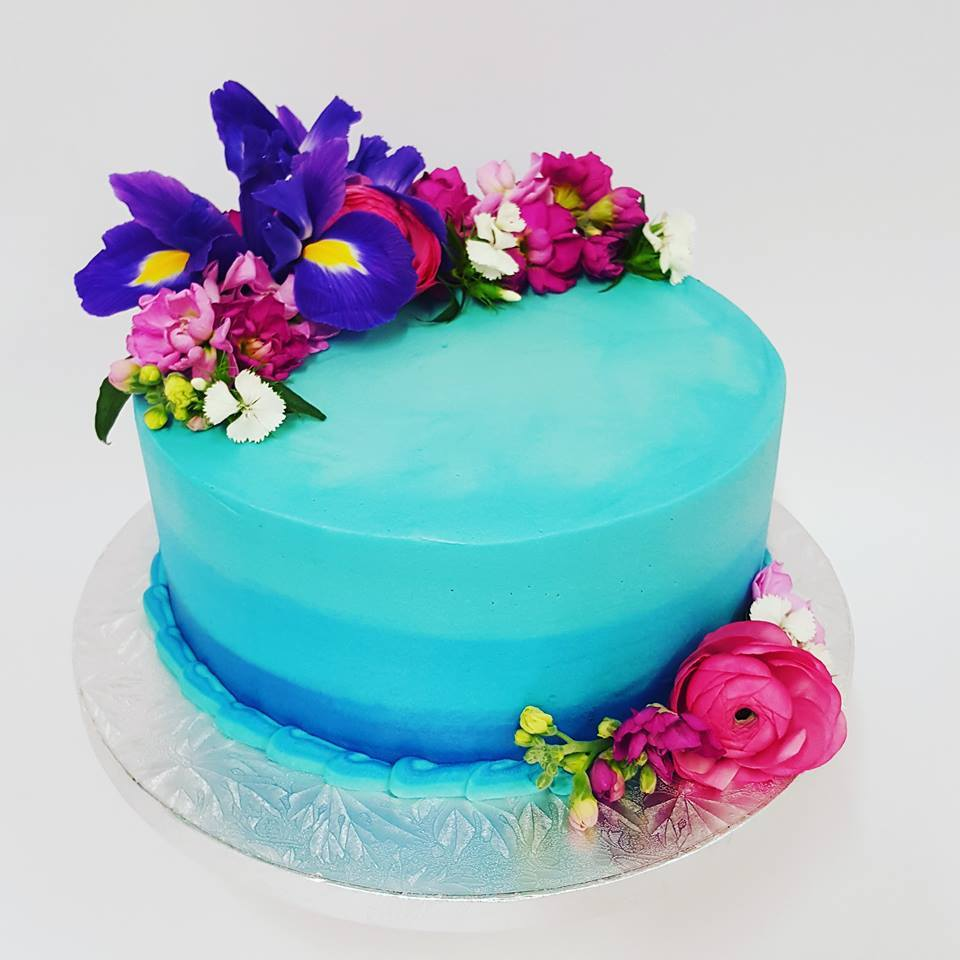 Blue Ombre Cake With Fresh Flowers The Girl On The Swing