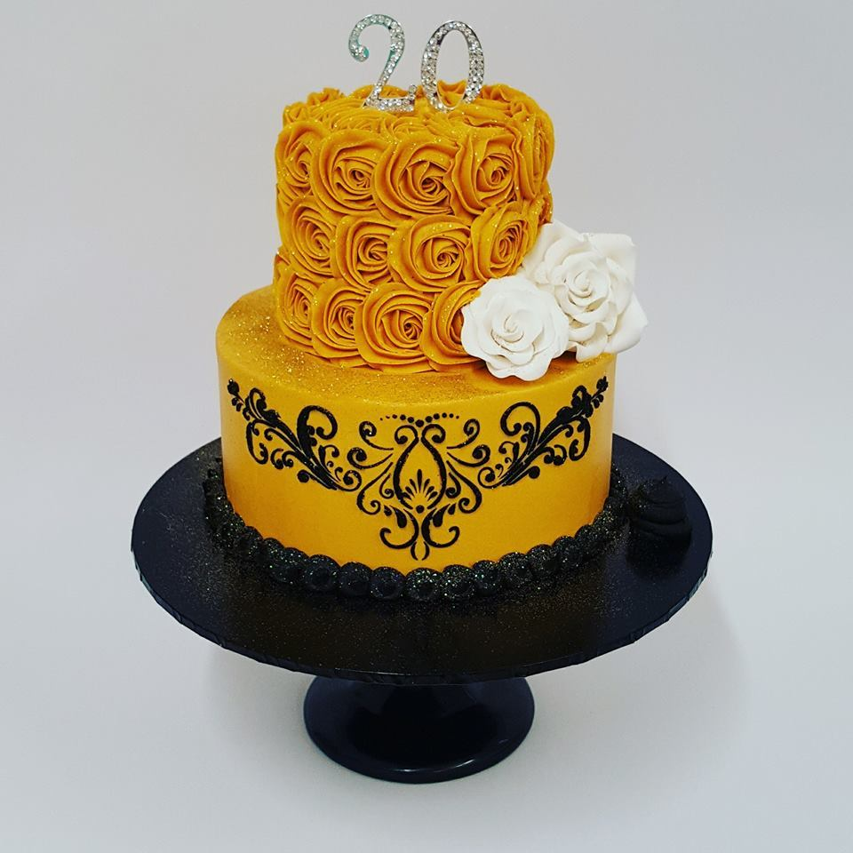 Gold And Black Roses With Stencil